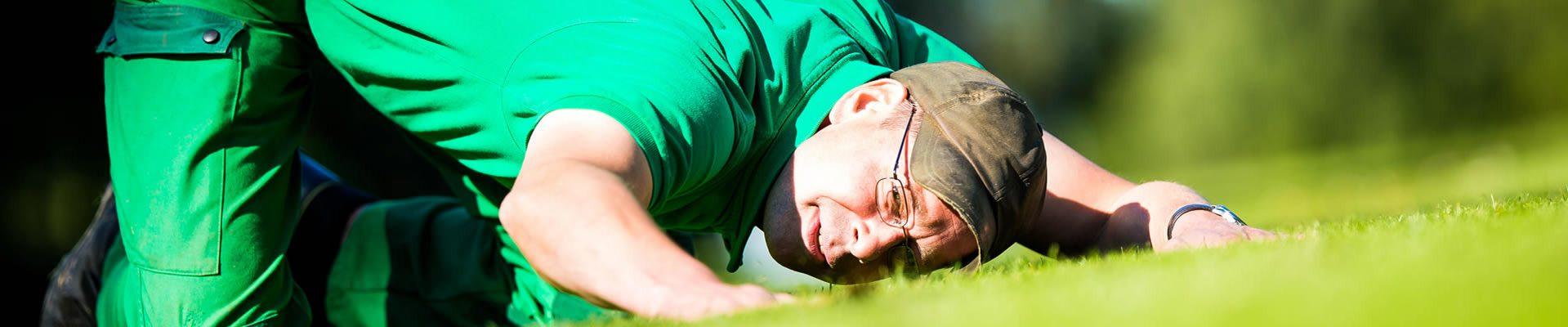 Headerbild Datenschutzerklärung des LSB NRW: Greenkeeper prüft den Rasen