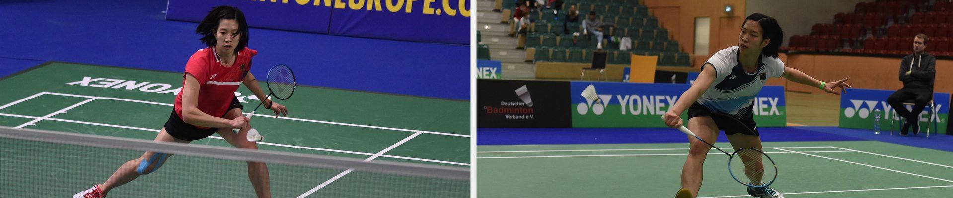 2 Bilder - Yvonne Li jeweils beim Badmintonspielen