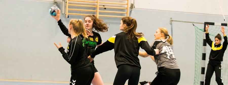 Vier Frauen beim Handball