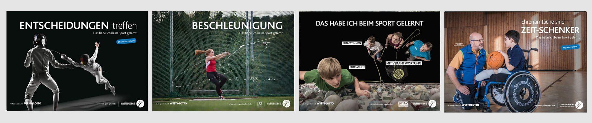 """Bildmotivserie zur Kampagne """"Das habe ich beim Sport gelernt"""""""