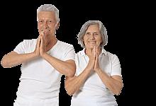 Sport für Ältere: Paar bei Gymnastikübung