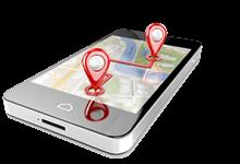 Sportvereine in NRW suchen und finden:  Smartphone mit Geodatenanzeige