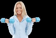 Sport und Gesundheit: Frau beim Kurzhanteltraining