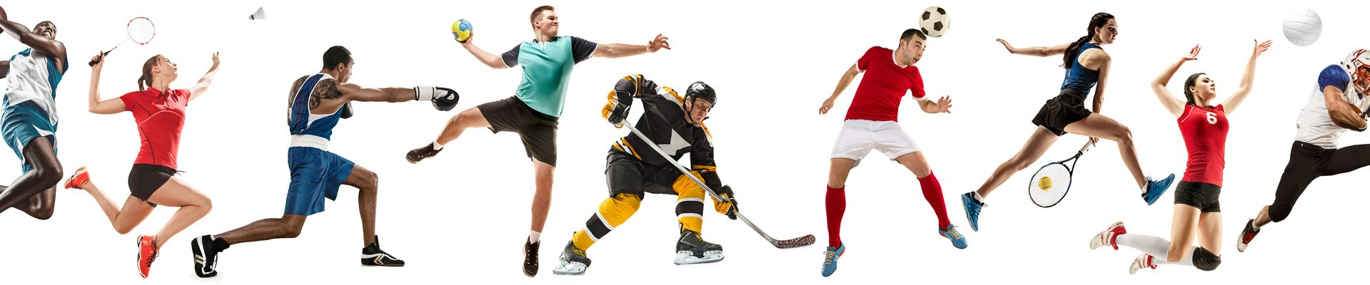 Creative collage of childrens and adults in sport