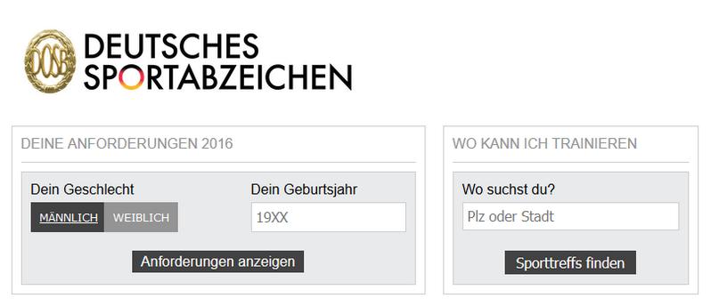 Ansicht der splink-App Deutsches Sportabzeichen